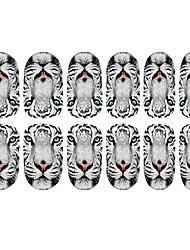 12PCS Weiße Tiger-Muster Luminous Nail Art Sticker