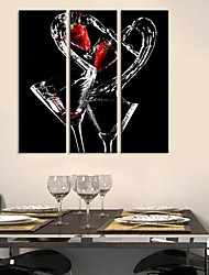 cheap -Stretched Canvas Art Still Life The Dance of Wine Set of 3