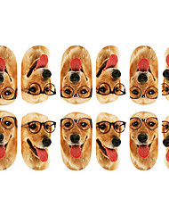 12PCS Lovely Dog com Arte Óculos Padrão unhas Luminous Stickers