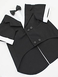 cheap -Dog Costume Tuxedo Dog Clothes Solid Colored Black Gray Cotton Costume For Pets Men's Cosplay Wedding