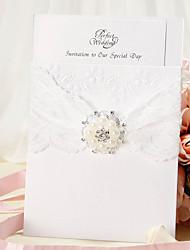 baratos -Convite do casamento Wrap & bolso com fita do laço e pérola de falso - conjunto de 12