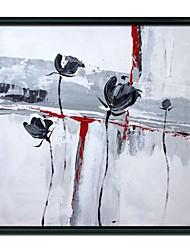 Floral preto e branco de óleo emoldurado pintura