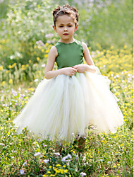 Ball Gown Tea Length Flower Girl Dress - Satin Tulle Sleeveless Jewel Neck with Bow(s) Pleats