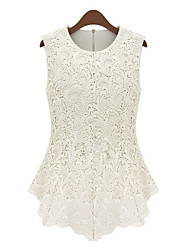 MILU Women's Europe Elegant Lace Sleeveless Shirt(White)
