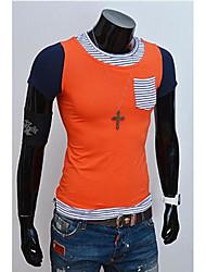 T-shirt(Arancione / Giallo,Cotone) -MEN-Manica corta- daCasual-Monocolore