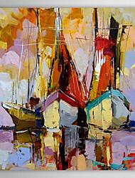iarts®hand pintado paisagem pintura a óleo espessado barco à vela pintado com moldura esticada