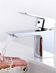 Moderne Mittellage Keramisches Ventil Ein Loch Einhand Ein Loch for  Chrom , Waschbecken Wasserhahn