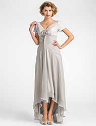cheap -A-Line V Neck Asymmetrical Chiffon / Lace Mother of the Bride Dress with Flower / Pleats by LAN TING BRIDE®