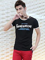 Fhonier Muška crna cvjetni print kratki rukav T-Shirt
