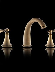 cheap -Traditional Widespread Ceramic Valve Two Handles Three Holes with Antique Brass Bathroom Sink Faucet