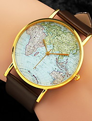 cheap -Women's Quartz Wrist Watch World Map Pattern PU Band Charm Fashion Black White Brown
