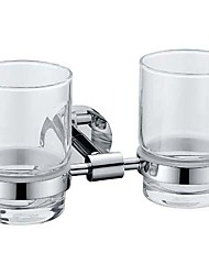 cheap -Chrome Finish Contemporary Style Brass Double Cup Toothbrush Holder