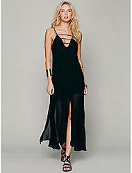 cheap -Z&G women's Sexy Strap Long Black Sheer Dress