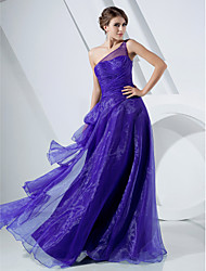 Una principessa a-line un vestito da promenade di organza di lunghezza del pavimento della spalla con bordare da ts couture®