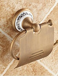 cheap -1pc High Quality Antique Brass Ceramic Toilet Paper Holder