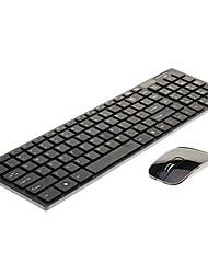 billige -ultra-tynde mode trådløst 2.4GHz tastatur& mus kit chiclet nøgler