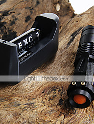 cheap -CREE Q5 LED 7W 300LM 3-Mode Adjustable Focus Zoomable Mini Flashlight + 2*14500 1200mAh Batteries + Battery Charger