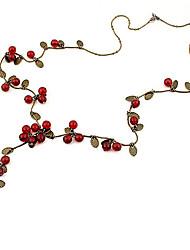 Недорогие -Жен. Ожерелья-цепочки - Вишня, Фрукт Дамы, Мода Красный Ожерелье Бижутерия Назначение Для вечеринок, Повседневные