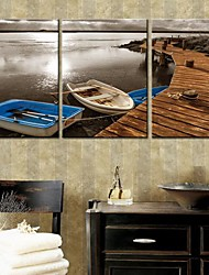 cheap -Stretched Canvas Art Landscape The Ship Docked Set of 3