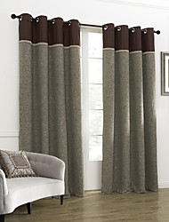 cheap -Two Panels Curtain Neoclassical , Solid Living Room Linen Material Curtains Drapes Home Decoration For Window