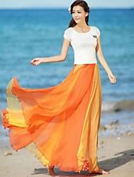 preiswerte -Frauen Multicolor Flare Chiffon Rock