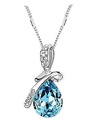 Women's Pendant Necklaces Crystal Drop Crystal Rhinestone Platinum Plated Alloy Fashion Elegant Jewelry For Wedding Party Special