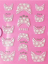 billige -1 pcs Franske design tips 3D Negle Stickers Blonde klistermærker Negle kunst Manicure Pedicure Daglig Abstrakt / Mode / Fransk Tips Guide / Lace Sticker / 3D Nail Stickers