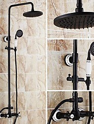 cheap -Antique Tub And Shower Rain Shower Handshower Included Ceramic Valve Three Holes Two Handles Three Holes Oil-rubbed Bronze , Shower Faucet
