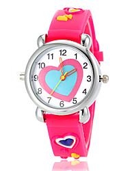 Недорогие -Детская Прекрасный шаблон Сердце фонарик Светодиодные силиконовой лентой кварцевые наручные часы (разных цветов)