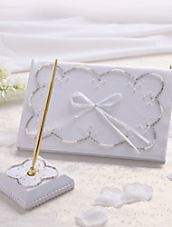 Guest Book Pen Set Satin Classic ThemeWithFaux Pearl Guest Book Pen Set