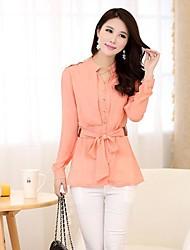 Недорогие -женская стенд с длинным рукавом шифона рубашку с поясом