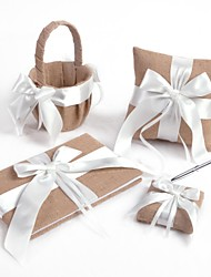 White Cross Bow Linen Wedding Collection Set (4 stykker)