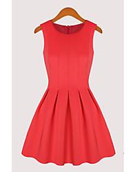 XNR Bomuld Ærmeløs Solid Color Dress (Red)