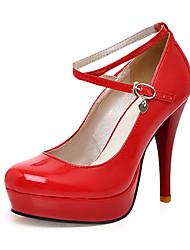 FemininoPlataforma-Salto Agulha Plataforma-Preto Vermelho Branco-Couro Envernizado-Escritório & Trabalho Social