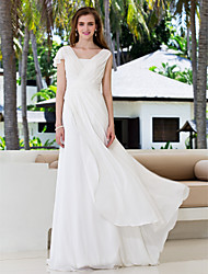 A-Line V-neck Sweep / Brush Train Georgette Wedding Dress with Sash / Ribbon Criss-Cross by LAN TING BRIDE®