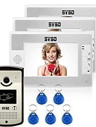 cheap -Wired RFID 7inch Hands-free One to Three video doorphone / CMOS / 1/3 Inch / 420TVLine / #