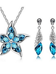 cheap -Women's Synthetic Diamond Jewelry Set - Crystal Flower Fashion Include Green / Navy For Wedding Party Daily / Earrings / Necklace