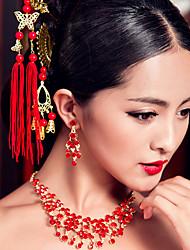 Недорогие -элегантные китайские красные ожерелья для свадеб классический женский стиль