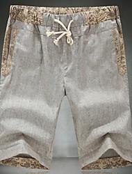 Masculinos Calças Elastic curtas de linho
