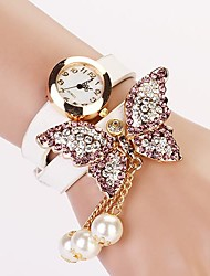Mulheres Relógio de Moda Bracele Relógio Quartzo imitação de diamante PU Banda Borboleta Boêmio Pérolas Preta Branco Vermelho AmareloCafé