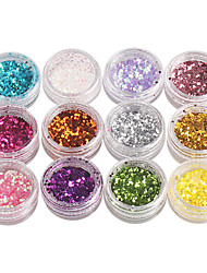 12-Color Hexagon pailletter Nail Art Dekorationer
