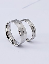 cheap -Fashion Silver Half Brush Titanium Steel Couple Rings Promis rings for couples