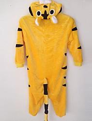 Kigurumi-pyjamas Tiger Onesie-pyjamas Kostume Flanel Fleece Cosplay Til Barn Nattøj Med Dyr Tegneserie Halloween Festival / Højtider