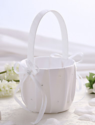 cheap -White Satin Wedding Flower Basket with Rhinestone Flower Girl Basket