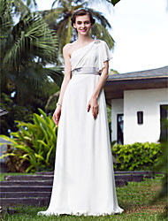 cheap -A-Line One Shoulder Sweep / Brush Train Stretch Satin Georgette Wedding Dress with Crystal Floral Pin by LAN TING BRIDE®