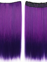 cheap -24 Inch Long Clip in Synthetic Straight Hair Extensions with 5 Clips Ombre Purple
