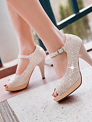 Women's Shoes Synthetic Spring Summer Fall Heels Stiletto Heel Peep Toe Buckle For Casual Dress Party & Evening Beige Light Purple