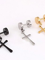 cheap -Men's Cross Stainless Steel Drop Earrings - Earrings For Christmas Gifts Wedding Party