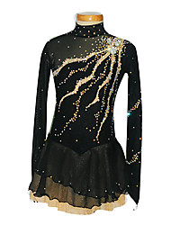 Ice Skating Dress Women's Long Sleeves Skating Skirt Figure Skating Dress Handmade Spandex Skating Wear Performance Leisure Sports Solid