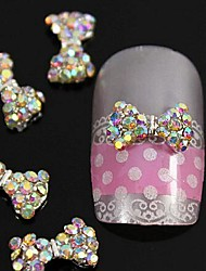 cheap -10pcs crystal ab rhinestones beads bow tie 3d alloy nail art decoration